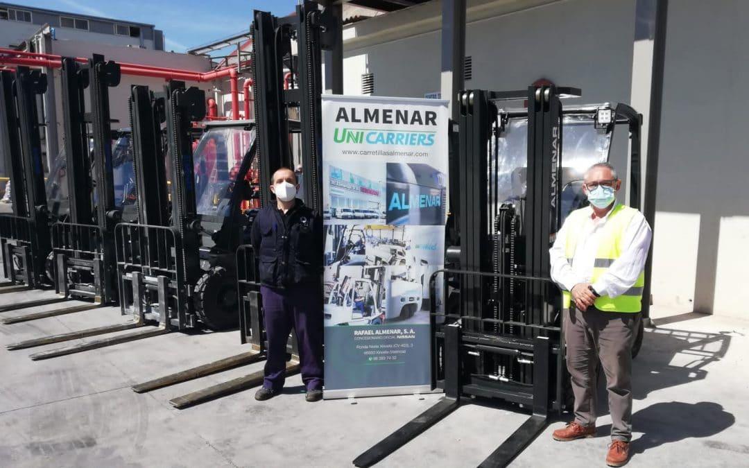Omar Coating renueva su parque de carretillas en Carretillas Almenar